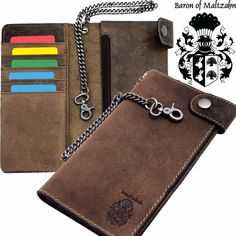 Card Wallet, Brown Leather, Chain, Baron, Organizers, Accessories, Wallets, Jewelry, Cases