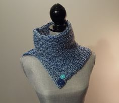 Knit Textured Cowl Scarf with Button Detail by WhiteTeather