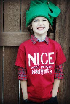 Kids Christmas Nice until proven Naughty t-shirt
