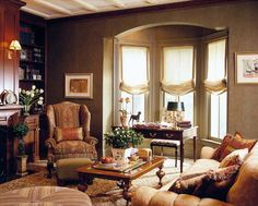Window Treatments for Bay Window with Accent Chairs for Living Room