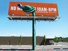 Just an ordinary billboard (cheap to produce), but the creative use of its stanchion makes it special.