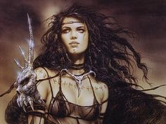 Art- Luis Royo,   Protection Spell- I am a witch of ancient lore. I petition these trees and forest floor. Converge myself upon this site. Spider weaving, power and might. Air and Fire, Water and Earth, Aid in my quest, I call you forth. Pentacle of old, stones of deep. Protection around, assistance I seek.
