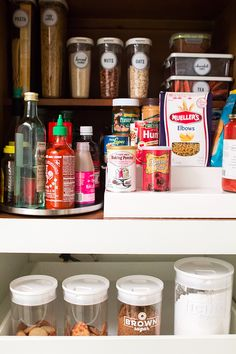 Keep a small pantry organized by clearly labeling everything and making items accessible. Click through for more organization tips. by Sarah Hearts