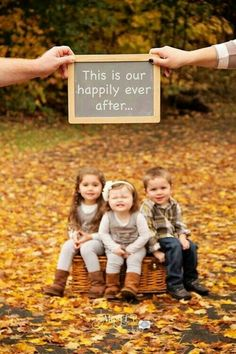 I like the leaves and the kids sitting on a home décor item minus the sign.