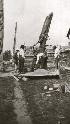 At the top of the pole is the Supernatural-Frog, followed by Man-Cut-in-Half and then the Frog, which has its head facing up between the arms of the Man-Cut-in-Half.<br><br>This pole is being re-erected as you can see the foundation being prepared for the pole. This was originally a house frontal pole that is now destroyed. Man Cut, Mean People, Historical Sites, British Columbia, The Man, Supernatural, Battle, Foundation, Arms