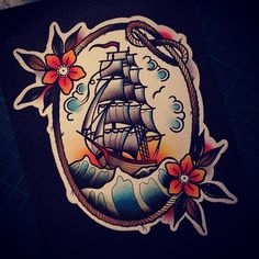 "aplaceformythings: "" I love drawing/painting/tattooing tall ships.. So much fun! #paintings #anothership """