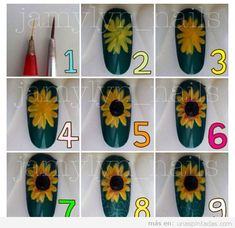 Sunflower nail art tutorial – My CMS Autumn Nails, Fall Nail Art, Nail Art Diy, Get Nails, How To Do Nails, Hair And Nails, Sunflower Nail Art, Finger Nail Art, Manicure