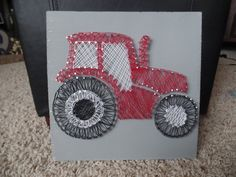 Red tractor string art by bpstrings on Etsy