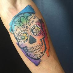 Watercolor Sugar Skull Tattoo by Aleksandra Stojanoska