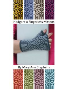 The Hedgerow Fingerless Mittens are a stranded (Fair Isle / Norwegian) knitting design by Mary Ann Stephens.  They require two different-colored 50g balls of sport weight wool yarn. The knitting pattern PDF is available for download through Ravelry for $5. More info available on the designer's blog, wordpress.twostrands.com