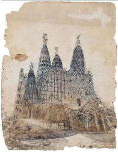 original drawing by Antoni Gaudi