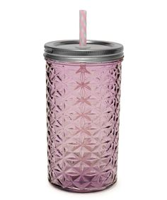 Purple 16-Oz. Textured Mason Jar Tumbler