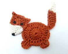 Crochet applique 4 piccola grigio e ruggine di MyfanwysAppliques