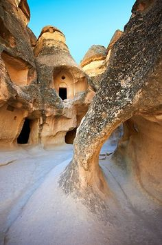 Early Christian rock cave churches in the tuff rock at Zelve, Cappadocia, Turkey Beautiful Places To Travel, Wonderful Places, Places Around The World, Around The Worlds, Antalya, Turkey Photos, Cappadocia Turkey, House On The Rock, Amazing Buildings