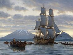 Mark Myers PPRSMA  Many Canoes Accompany'd Us Ship Paintings, Seascape Paintings, Nautical Art, Nautical Painting, Ocean At Night, Ship Of The Line, Romantic Paintings, Boat Painting, Sea Art