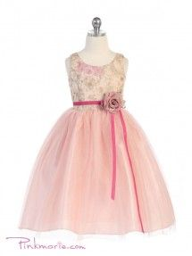 Dusty Rose Embroidered Floral Pattern Girl Dress
