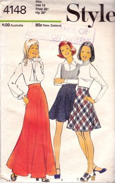 1970s Style 4148 Vintage Sewing Pattern Boho Flared Skirt Pattern Size 14 Waist 28 inches