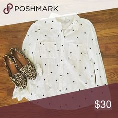 Beautiful white embroidered button up blouse White loft blouse in good condition. Note: Size large petite! Bust 20 inches length 26 inches LOFT Tops Button Down Shirts