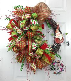 Deco Mesh CHRISTMAS Wreath For Door or Wall Red Lime Green Santa Clause by www.southerncharmwreaths.com $87 #decomesh #santa