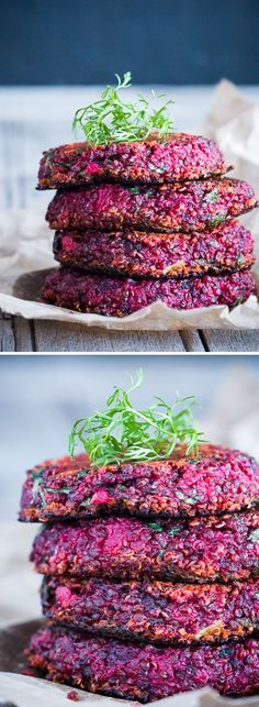 A healthy snacking option, these beet and goat cheese quinoa patties are a great way to use up veggies, and also make for a delicious addition to breakfast or a salad. They are really flavorful from the beetroot and spinach, and slightly tart from the goat cheese. They are also slightly crunchy on the outside from all the quinoa that gets nice and crisp; and juicy inside.