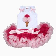 Girls First Birthday Outfit- Pettiskirt - Tutu - Pettiskirt - Pink Skirt -  - Baby Outfit -Ice  Cream Cone Couture Tutu Set on Etsy, $59.00