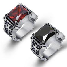 Drop Ship Mens Cool Fashion Black Ring titanium Steel Jewelry Egyptian Pattern Fashion Jewelry SA361 - V-Shop