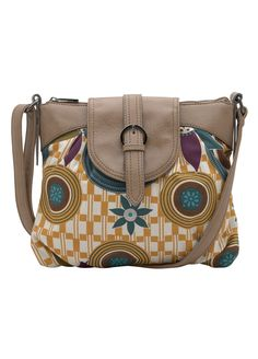 Printed Canvas Satchel - Mocha