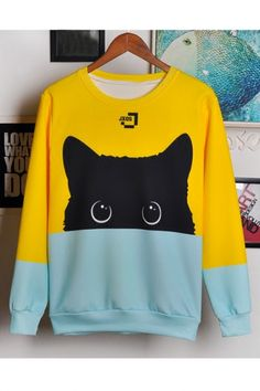 Lovely Cat Printed Color Block Long Sleeve Round Neck Pullover Sweatshirt