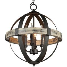$384.00  Aspen Wrought Iron Globe Chandelier - Small