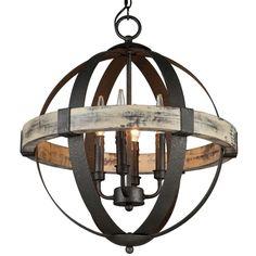 $384.00  Aspen Wrought Iron Globe Chandelier - Small