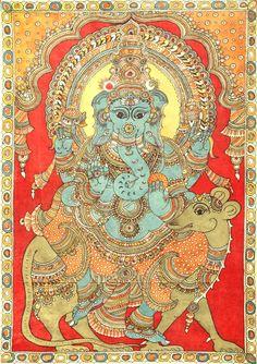 Four-Armed Ganesha Seated on Rat - Large Size, Folk Art Kalamkari Painting on CottonArtist - D. Kalamkari Painting, Madhubani Painting, Silk Painting, Ganesha Painting, Ganesha Art, Shiva, Krishna, Four Arms, Indian Folk Art