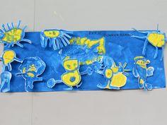 schilderen met donkerblauw en geel Flag, School, Art, Kunst, Craft Art, Flags, Art Education, Sanat