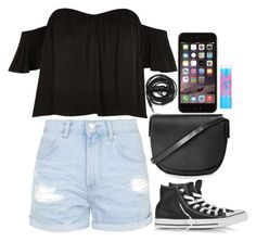 """""""Untitled #285"""" by mathilda96 ❤ liked on Polyvore featuring Topshop, River Island, Converse, Urbanears and Maybelline"""