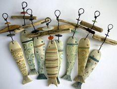 Fish Crafts, Beach Crafts, Clay Crafts, Arts And Crafts, Driftwood Projects, Driftwood Art, Clay Projects, Ceramic Jewelry, Ceramic Art
