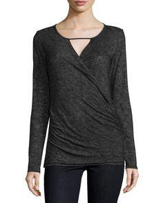 Brida Long-Sleeve Faux-Wrap Top, Black