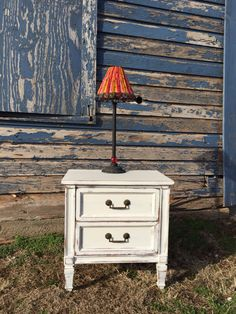Nightstand distressed in American Paint Company Navajo White.