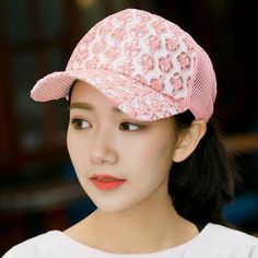 Flower baseball cap with sequins decoration for women UV protection sun hats