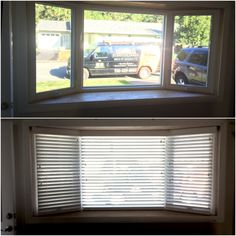 These white faux wood blinds treat this bay window well. Not only are faux wood blinds less expensiv. Window Well, Bay Window, Virginia Beach Houses, White Faux Wood Blinds, Custom Blinds, Cheap Curtains, Shades Blinds, Real Wood, Lead Free
