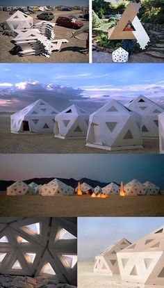 Futuristic. Nomadic. Sophisticated cool. Bound for a movie set or something. IMHO, anyway. Portable geodesic shelter might make a great eco-village of sustainable tiny homes.