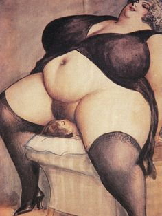 Watercolor illustration by an anonymous Czech erotic artist