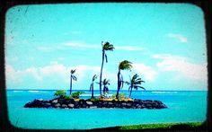 little island off the Kahala Resort beach in Oahu