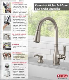$199   Delta Charmaine Single Handle Pull Down Sprayer Kitchen Faucet With  Soap Dispenser