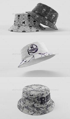 bucket-hat-mockup-pack High quality detailed cotton / denim Bucket Hats. Photorealistic, clean and easy to use mockup pack. Can use for any personal or corporate. Present Your Work in a very elegant way. All objects and self-shadows are fully separated so you can easily play with them and create your own original look. Present your projects in a way that is visually interesting and attractive to your clients. FEATURES: - Includes 5 Hat types (Black Cotton Hat / White Cotton Hat / Color…