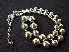 Vtg Vendome Chrome Graduated Sphere Necklace - Modern & Futuristic - Signed #Vendome #StrandString