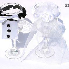 Bride & Groom Tux Bridal Veil Wedding Party Toasting Wine Glasses Decor - Wedding Look
