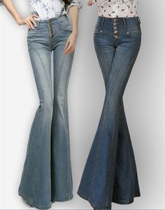 Grace Womens Casual Bootcut Jeans Pants Button Slim Flared Bell-bottom Trousers #othernew #BootCut