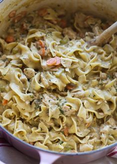 Creamy Chicken and Noodles is the ultimate in comfort food loaded with egg noodles, tender chicken, and a creamy sauce!