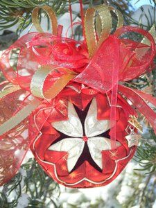 Pretty Quilted Star Christmas Ornament