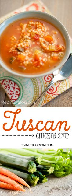Excellent soup for spring veggies! Simple Tuscan Chicken Soup with tomato, zucchini, carrot, and celery. Love the tiny noodles!