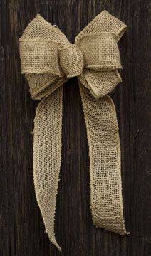 Burlap Bow is pre-made, just attach it to your decor. Now at Kruenpeeper Creek Country Gifts